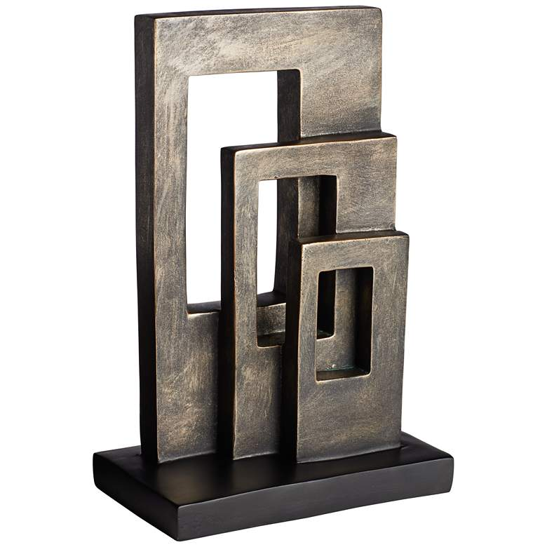"Modern Geometric 12 1/5"" High Antique Brass Sculpture"