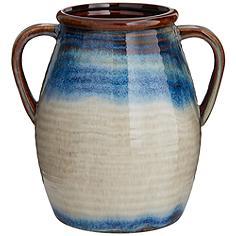 """Modern 8 1/2"""" High Blue Multi-Color 2-Handle Ceramic Vase"""