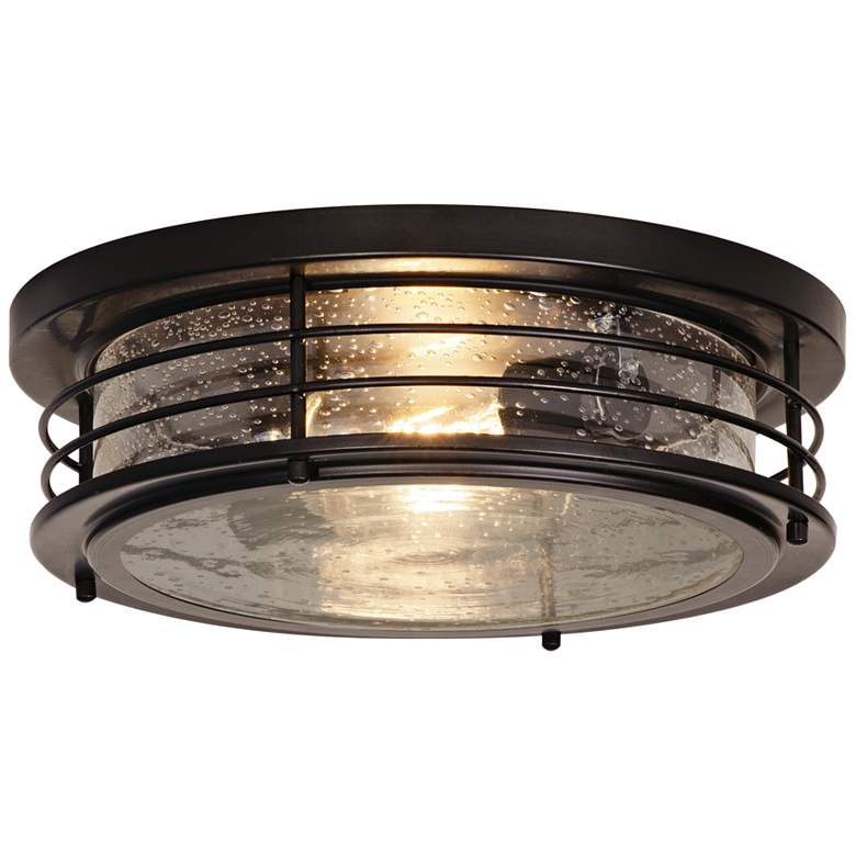 """Archer 13"""" Wide Black Ceiling Light with Clear Glass Shade"""
