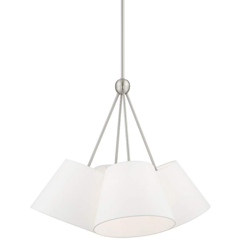 "Prato 25"" Wide Brushed Nickel 4-Light Pendant Light"