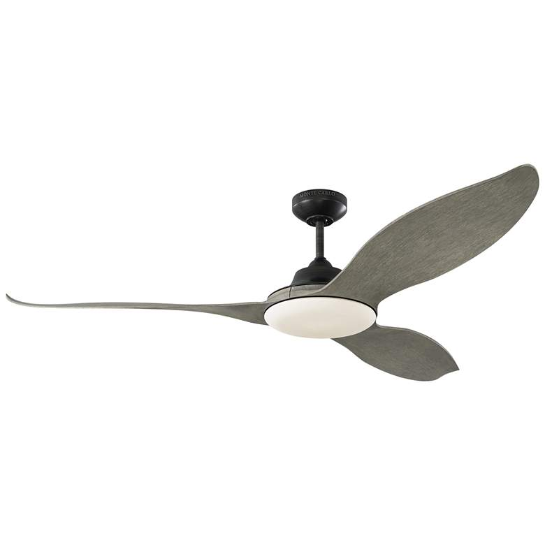 """60"""" Monte Carlo Stockton Aged Pewter Damp LED Ceiling Fan"""