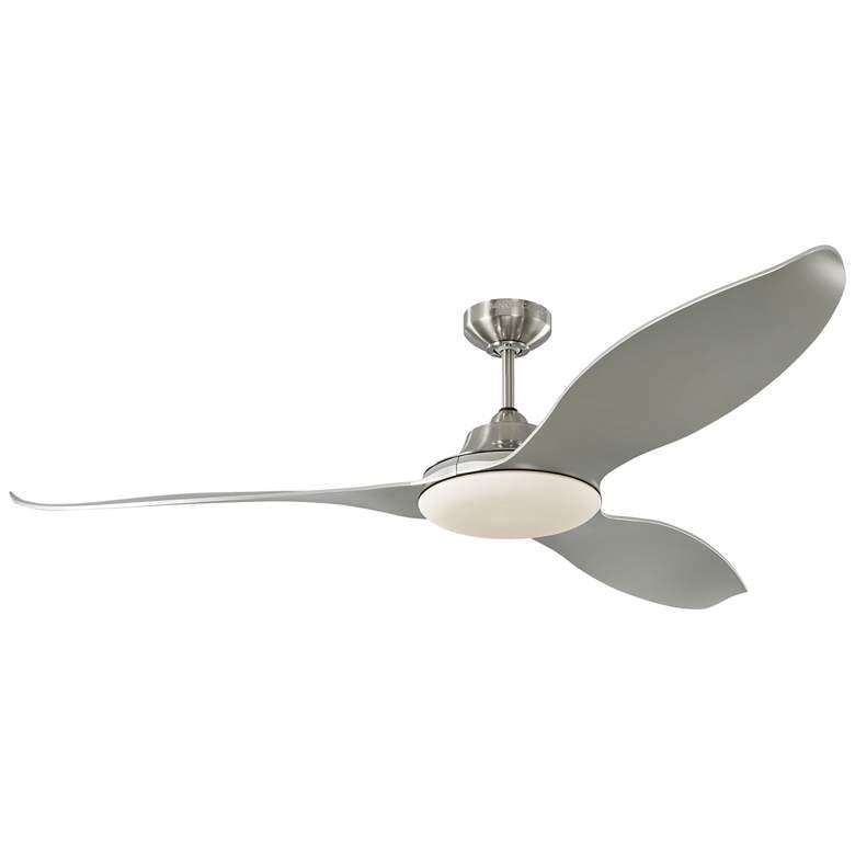 "60"" Monte Carlo Stockton Brushed Steel Damp LED Ceiling Fan"