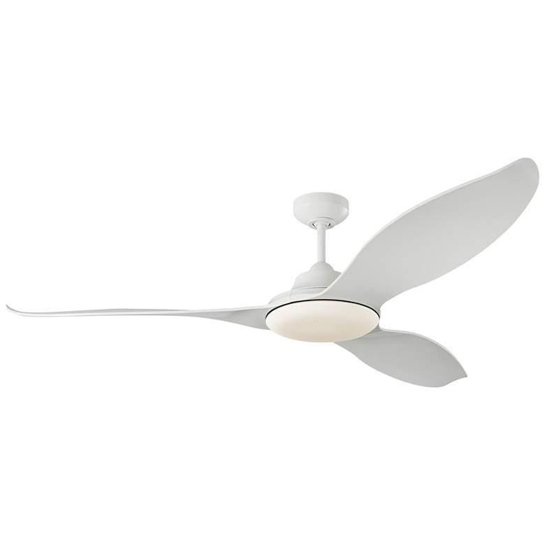 "60"" Monte Carlo Stockton Matte White Damp LED Ceiling Fan"