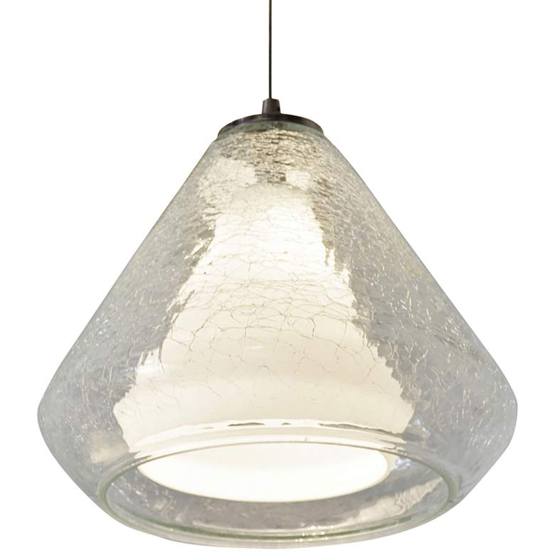 "Armitage 10""W Nickel LED Mini Pendant w/ Clear Crackle Glass"