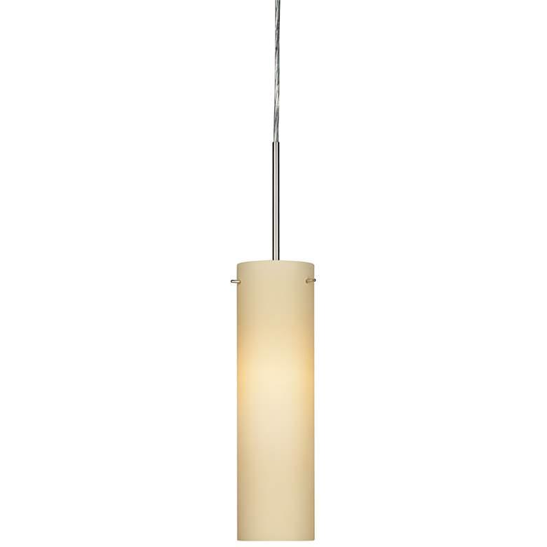 "Soho 5"" Wide Satin Nickel LED Mini Pendant with Cream Glass"