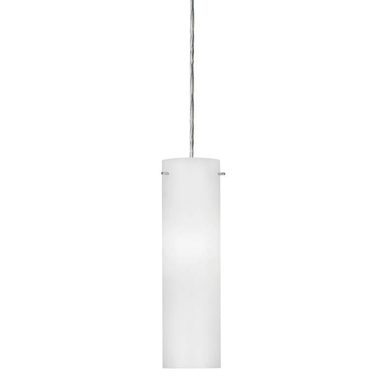 """Soho 3 3/ 4""""W  Satin Nickel LED Mini Pendant w/  White Glass"""