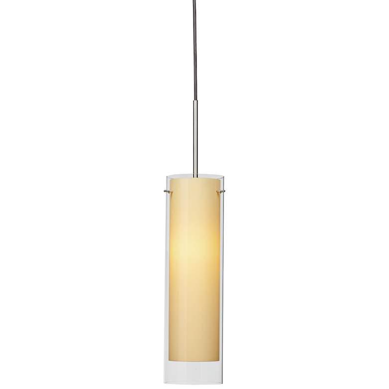 "View 4 3/4""W Satin Nickel LED Mini Pendant with Cream Glass"