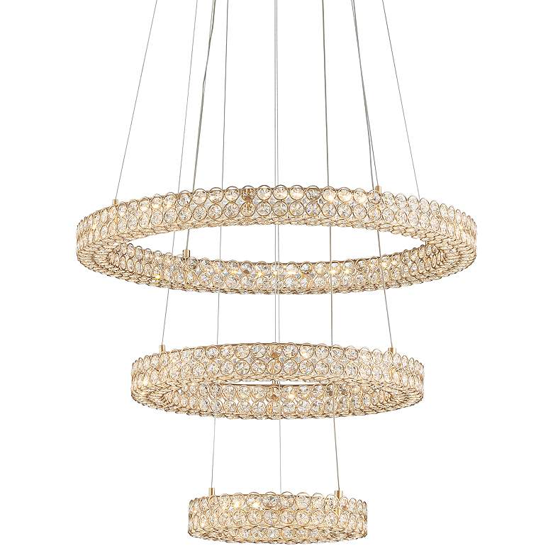 """Perriello 27 1/2""""W Gold Crystal 3-Tiered Ring LED Pendant"""