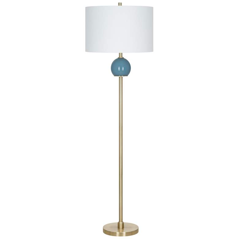 Dusk Blue Smooth Glass And Brass Metal LED Floor Lamp