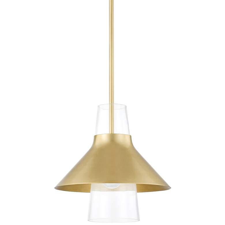 "Mitzi Jessy 12"" Wide Aged Brass Mini Pendant Light"