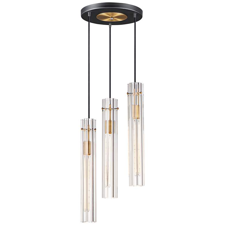 "Maxim Flambeau 12 3/4"" Wide Black Brass Multi-Light Pendant"