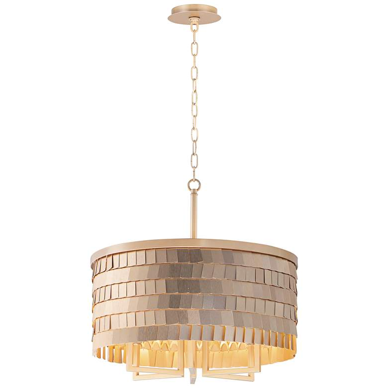 """Maxim Glamour 20"""" Wide Champagne and Gold Pendant Light"""