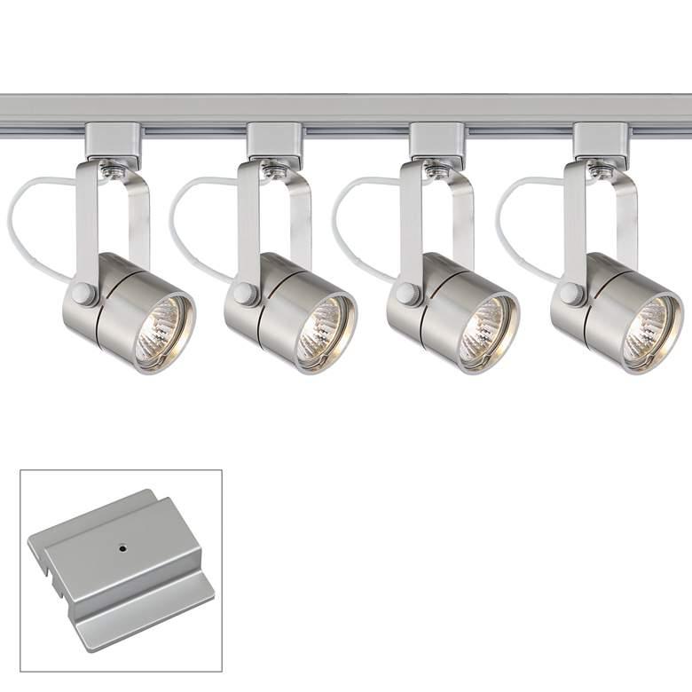 4-Light Silver Cylinder 50 Watt Floating Canopy Track Kit