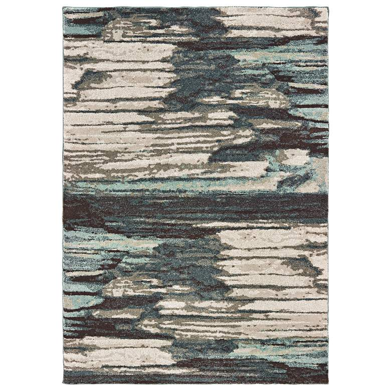 Carson Blue and Ivory Abstract Area Rug