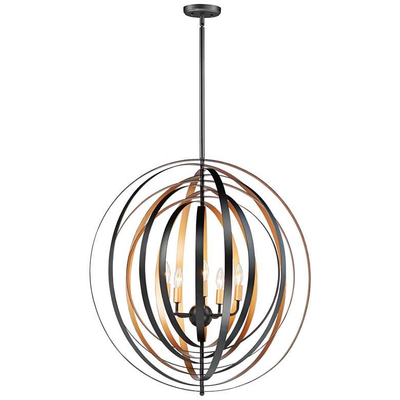 "Maxim Radial 30""W Circular Black Gold 5-Light Pendant Light"