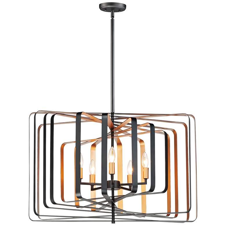 """Radial 30"""" Wide Rectangular Black Gold 5-Light Pendant Light"""