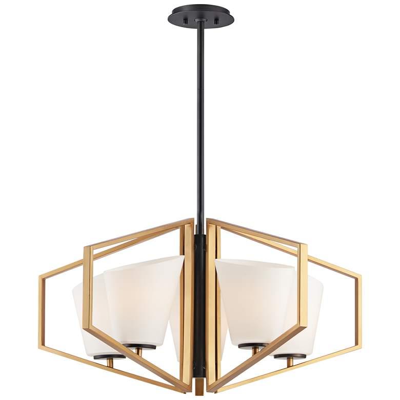 "Maxim Oblique 30 1/4"" Wide Gold and Black 5-Light Chandelier"
