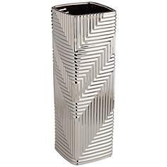 "Pure Silver Plating Texture 13 1/2"" High Ceramic Vase"