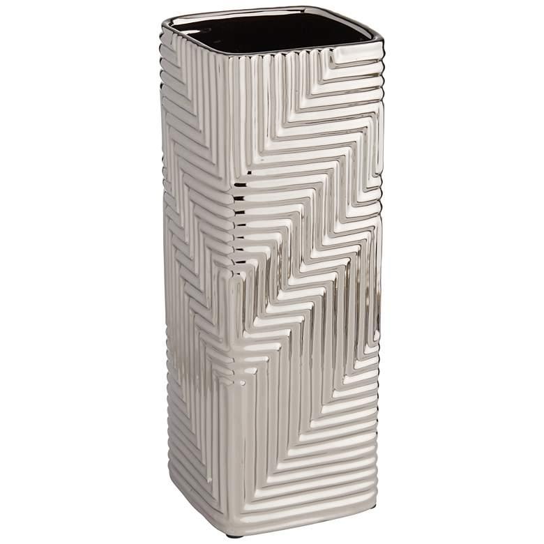 "Pure Silver Plating Texture 16 1/4"" High Ceramic Vase"