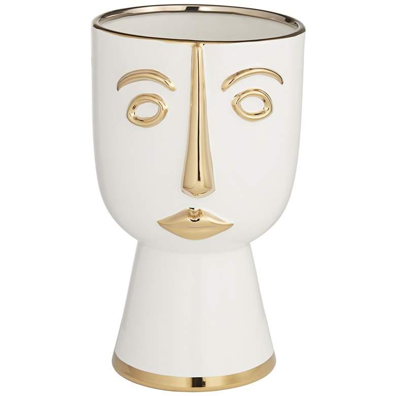 """Modern Face 12 1/4"""" High Gold and White Ceramic Vase"""