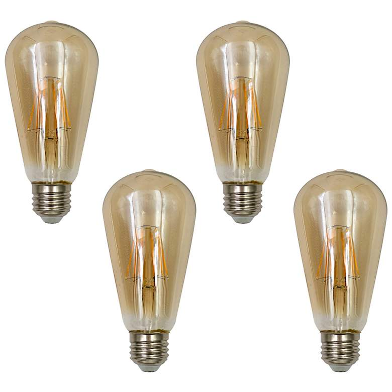 75W Equivalent Amber 8W LED Dimmable Standard ST21 4-Pack
