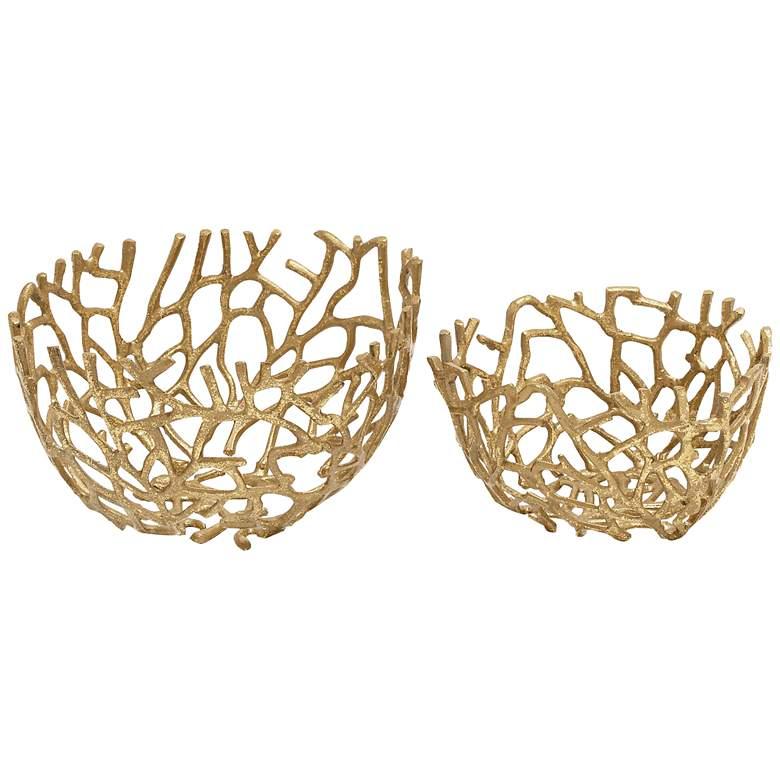 Modern Nest Gold Metal Decorative Bowls Set of 2