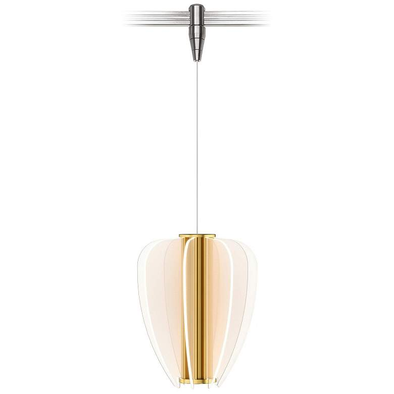 """Nyra 8 1/2"""" Wide Plated Brass LED Monorail Mini Pendant"""