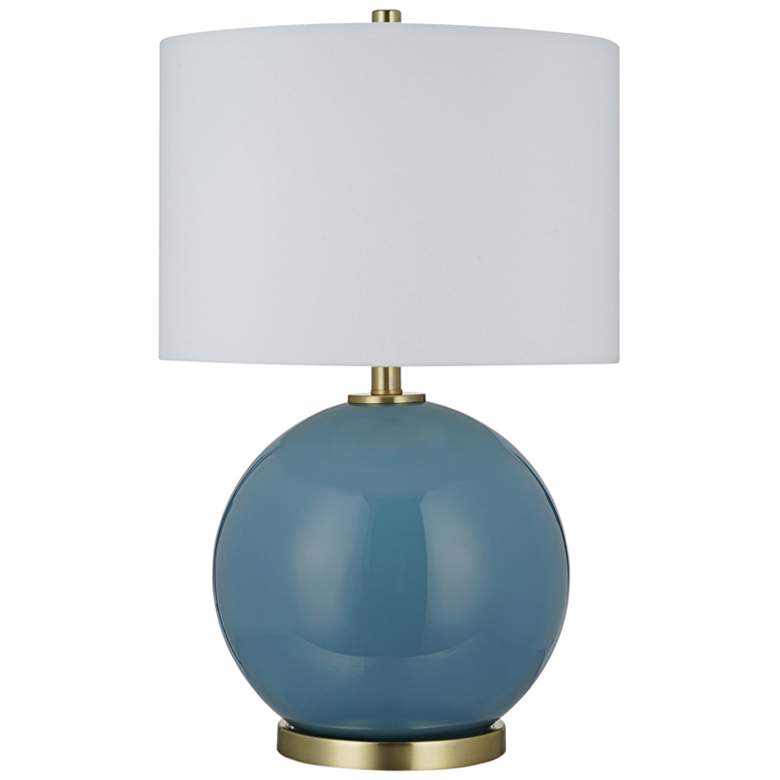 Dusk Blue Smooth Glass Sphere LED Table Lamp