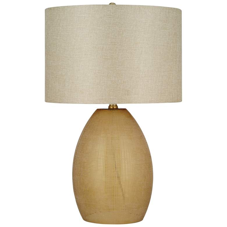 Cornstalk Linen Etched Amber Glass LED Table Lamp