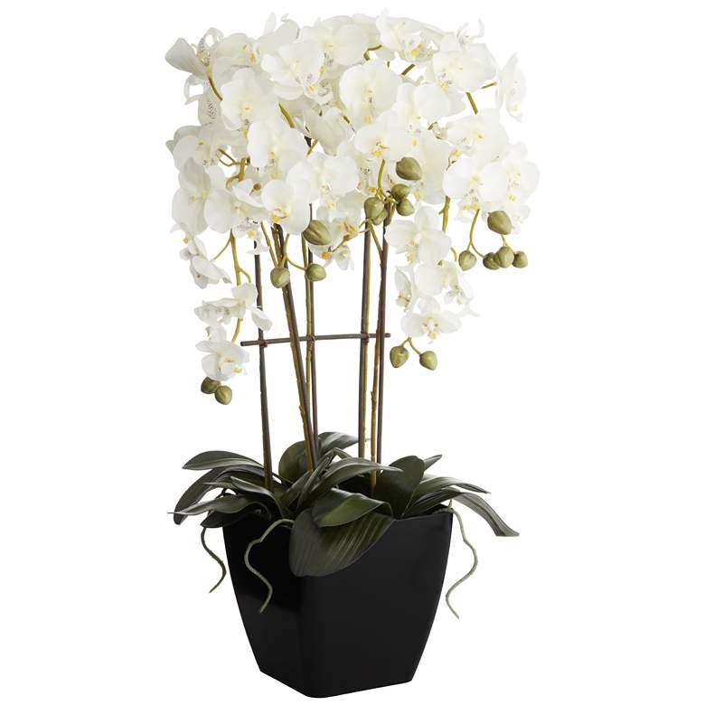 Modern Large White Faux Orchid in Black Pot