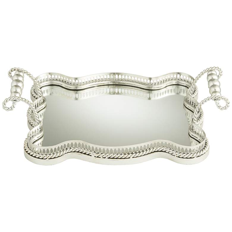 """Antonia 17 3/4"""" Wide Silver Metal Mirrored Tray"""