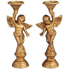Angel Gold Cast Iron Pillar Candle Holders Set of 2