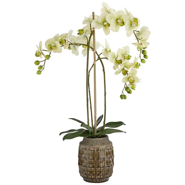 "Green Orchid 28 1/2"" High Faux Flowers in Sage Vase"