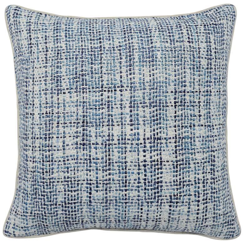 "Elliot Blue Ivory Basketweave 22"" Square Decorative Pillow"