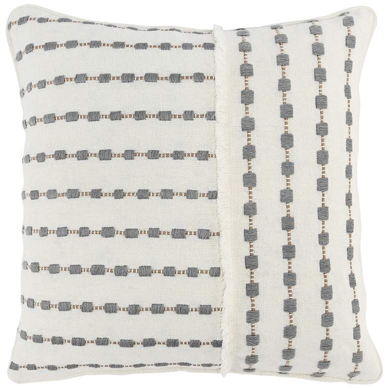 """Kassie Embroidered Striped 20"""" Square Decorative Pillow"""