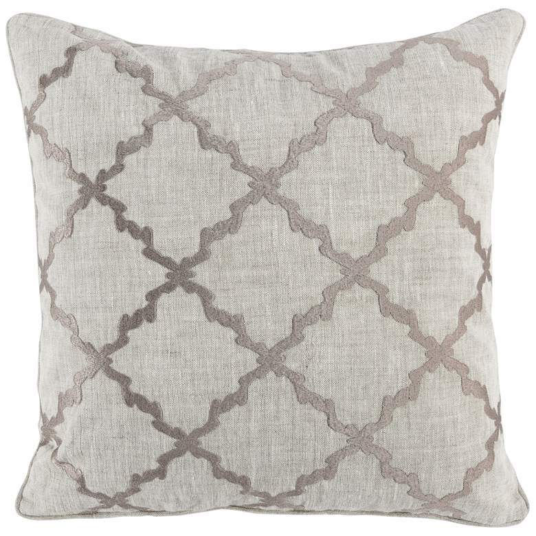 "Luxi Gray and Natural Trellis 22"" Square Decorative Pillow"