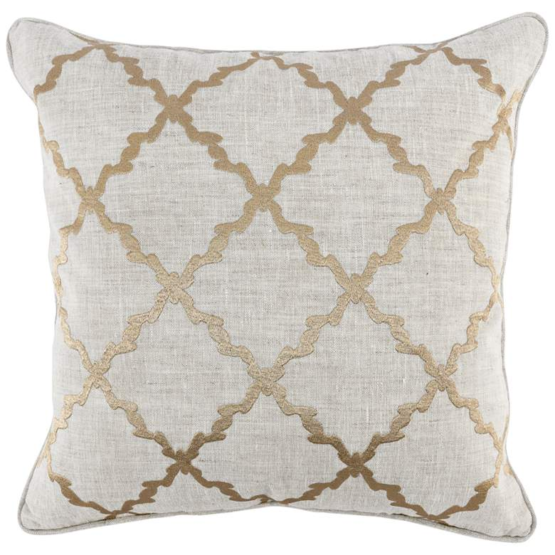 """Luxi Yellow Gold and Natural 22"""" Square Decorative Pillow"""