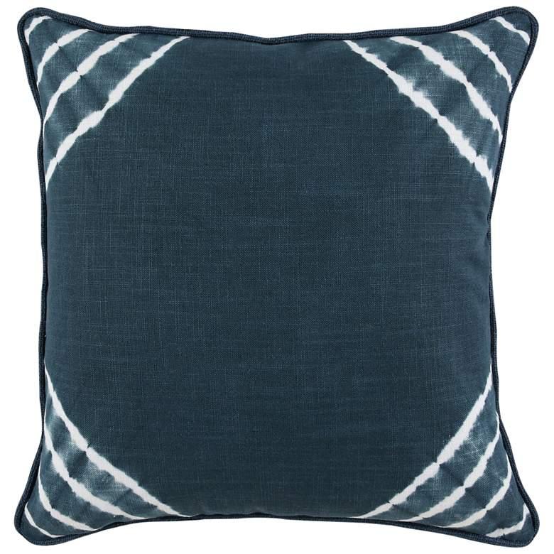 "Deep Sea Blue Diagonal Striped 22"" Square Decorative"