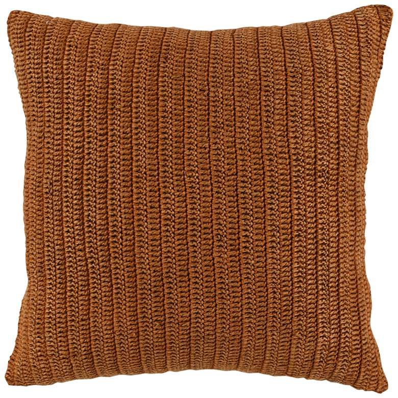 """Mandy Orange Saffron Striped 22"""" Square Decorative Pillow"""