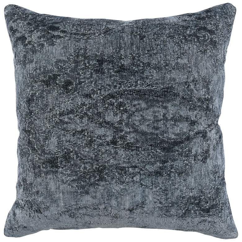 "Andy Blue Woven Distressed 22"" Square Decorative Pillow"