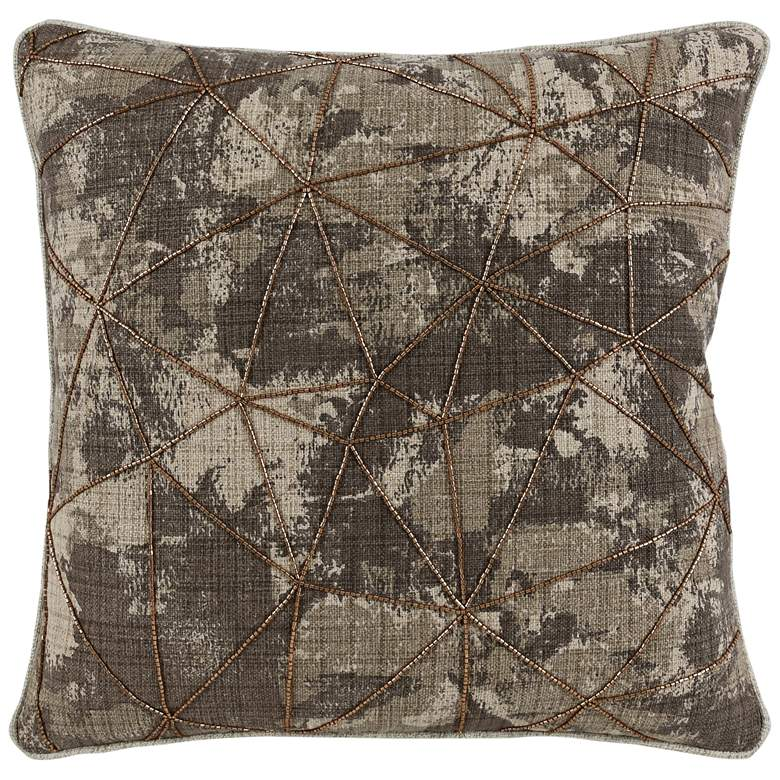"""Aria Brown Abstract 22"""" Square Decorative Pillow"""