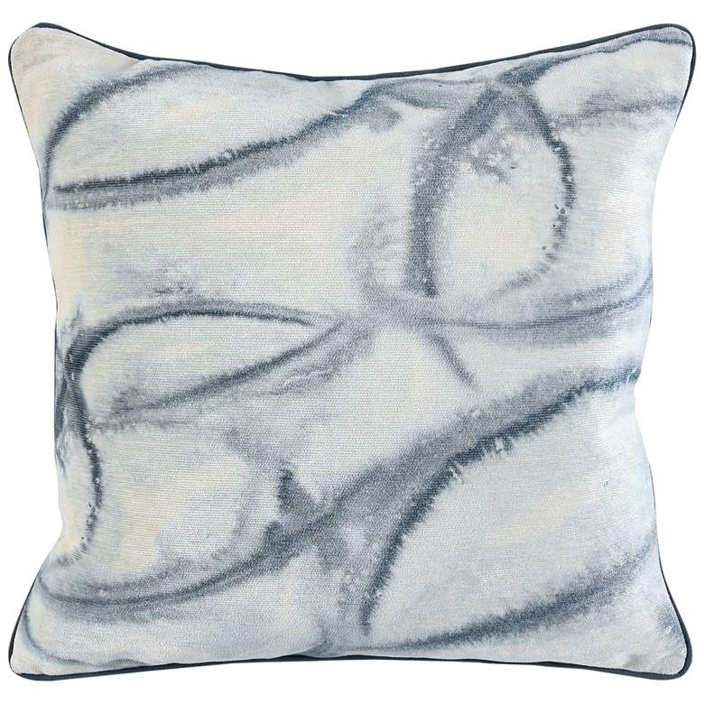 """High Seas Blue Abstract 20"""" Square Decorative Pillow"""