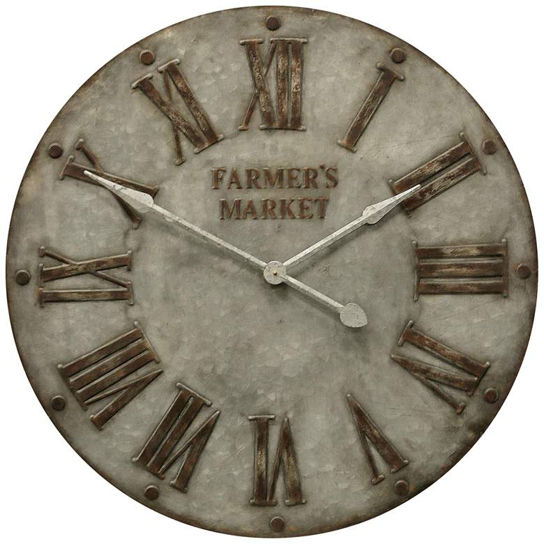 "Farmer's Market 32"" Round Painted Iron Wall Clock"