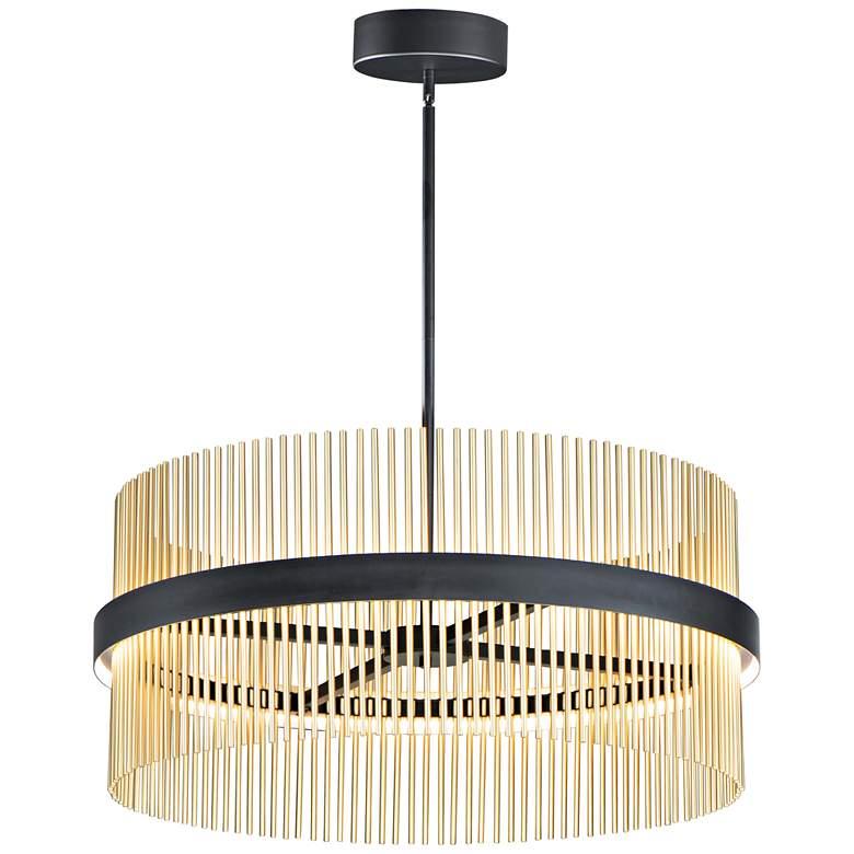 """ET2 Chimes 33 3/4"""" Wide Black Satin Brass LED Pendant Light"""