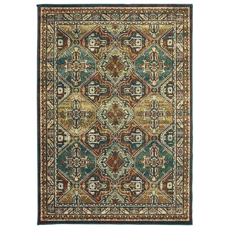 Dawson Teal and Brown Oriental Area Rug