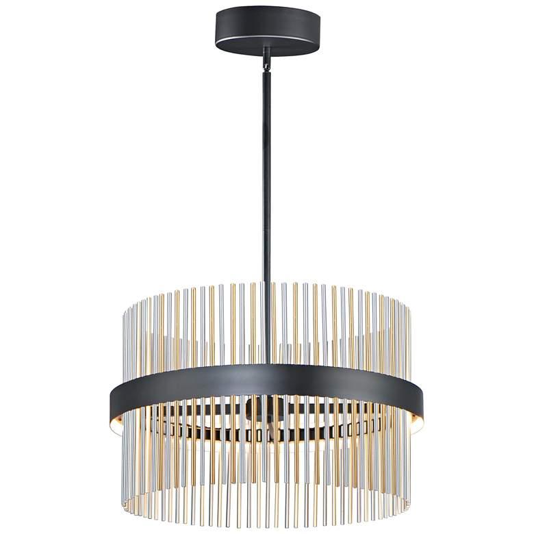 """ET2 Chimes 23 3/4"""" Wide Black Nickel Brass LED Pendant Light"""