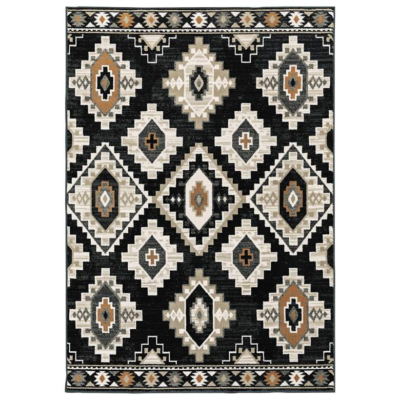 "Georgia 5'3""x7'3"" Charcoal Ivory Southwest Lodge Area Rug"