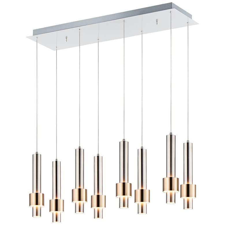 "ET2 Reveal 32""W Nickel Brass Linear LED Multi-Light Pendant"