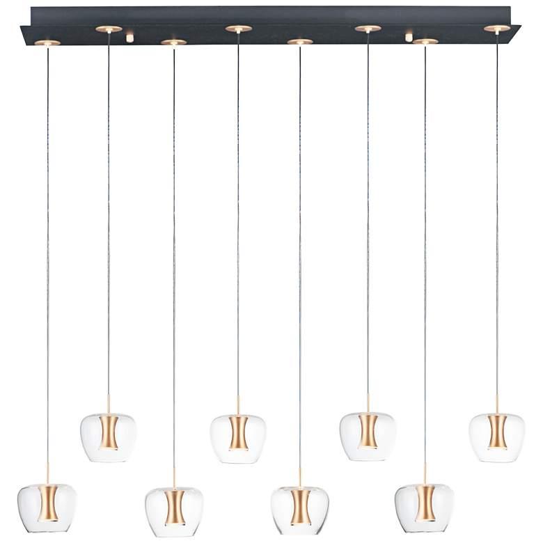 """Newton 38 1/2""""W Black Gold Linear LED Multi-Light Pendant"""
