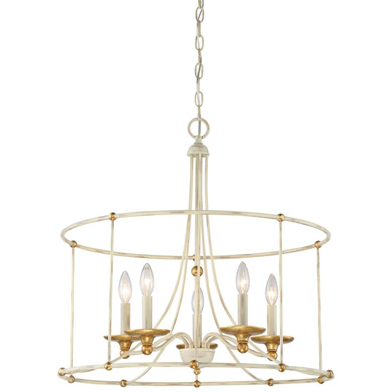 "Westchester County 25""W Farmhouse White 5-Light Chandelier"
